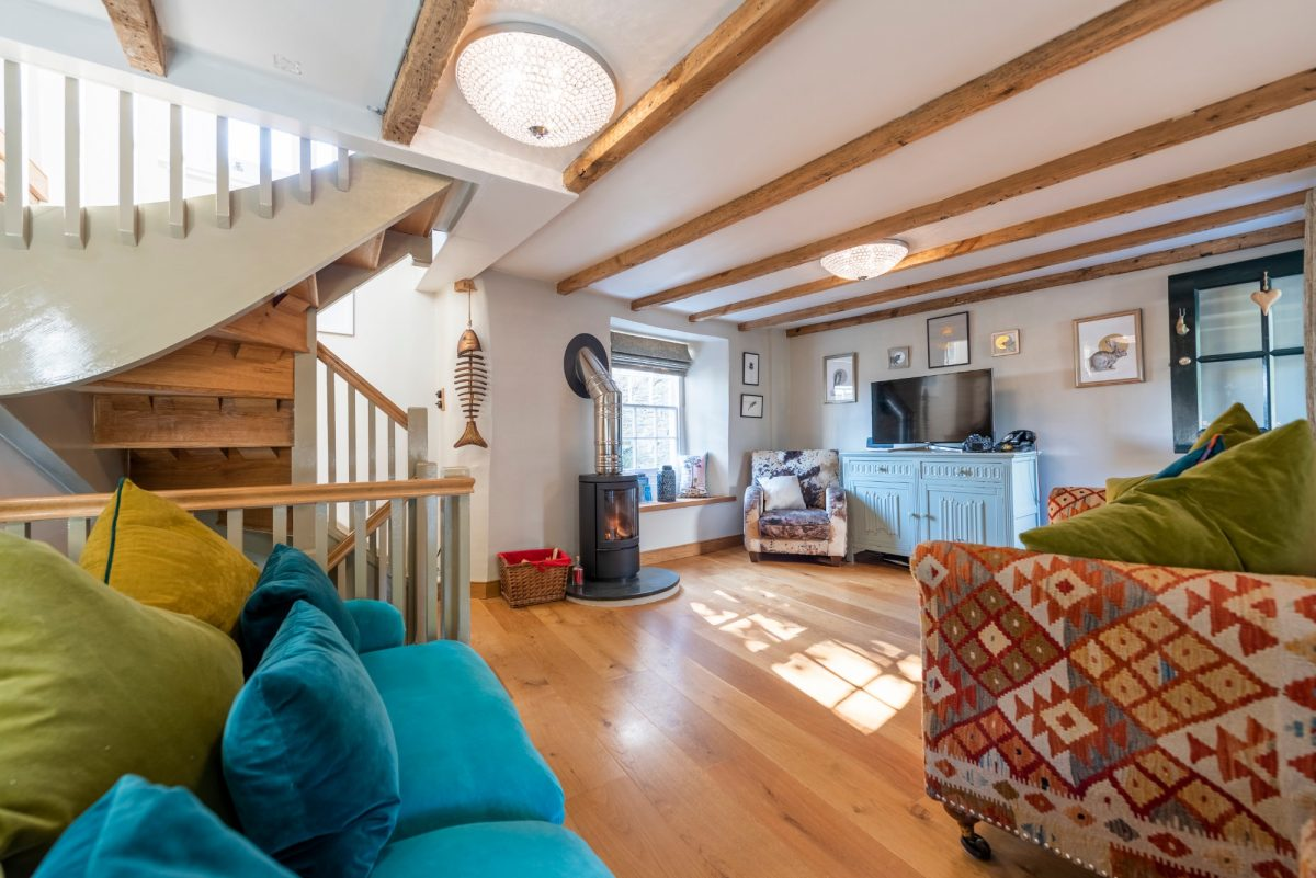 Living space in Padstow cottage