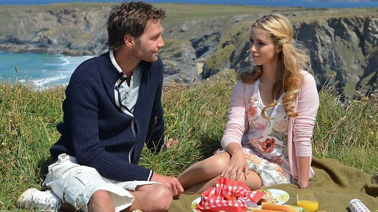 Scene from ZDF's Rosamunde Pilcher film, shot at Bedruthan steps