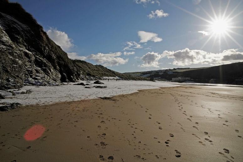 Empty Winter Beach in Cornwall