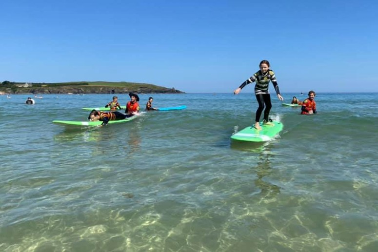 Family Surfing at Harlyn in Cornwall
