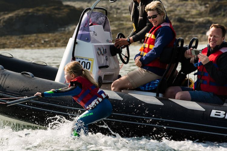 Family waterskiing in Cornwall