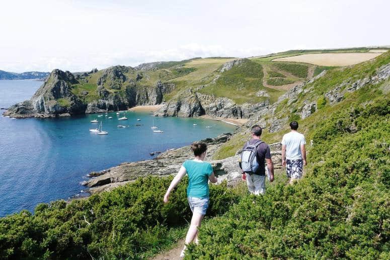 Hiking on the coast path in Cornwall